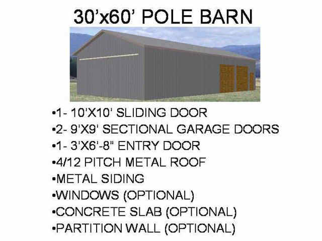 51 30 X 60 Pole Barn Plans Blueprints Construction