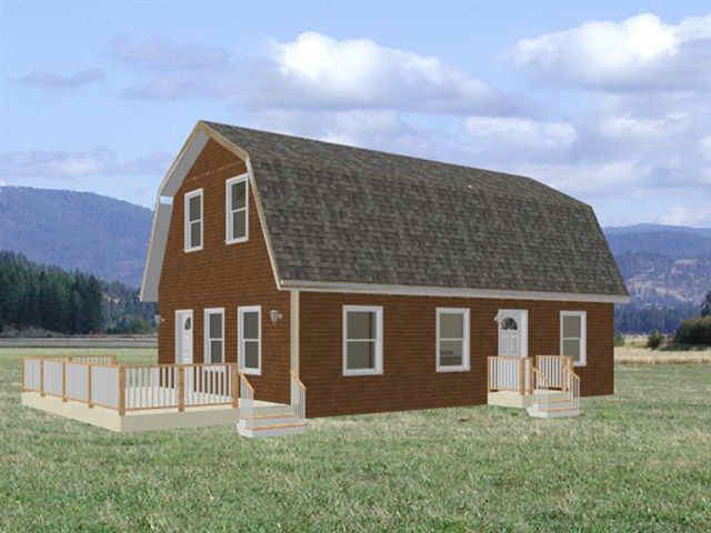 Small gambrel loft cabin plans joy studio design gallery for Small gambrel house plans