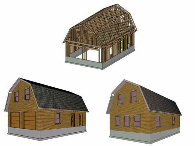 Barn gambrel garage plan house plans for Gambrel apartment garage plans