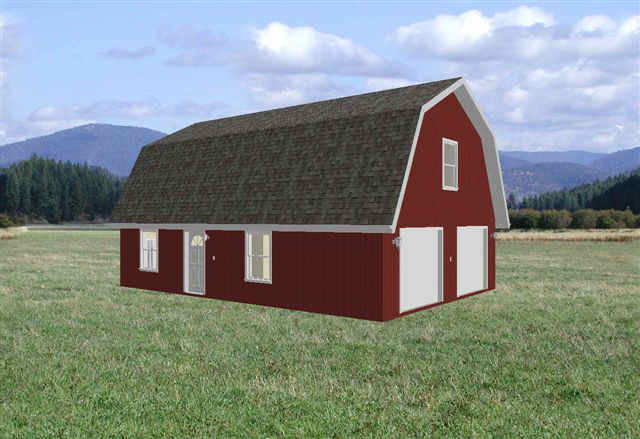 26 39 x 36 39 gambrel barn garage apartment plans for 36 x 36 garage with apartment