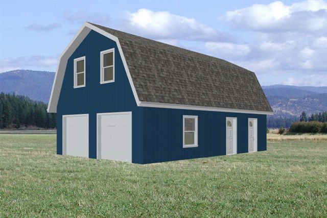 24 X 36 Gambrel Barn Garage Plans Sds Plans